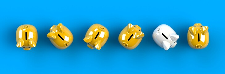 Top view piggy bank isolated on blue background, Finance concept, 3d rendering