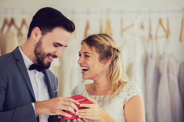 Beautiful model wedding couple in studio shop picture vintage style tone