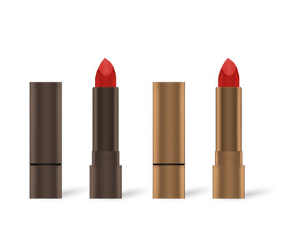 Open and closed red lipstick in bronze colored metal tube, mock-up