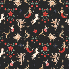 Watercolor pattern with medieval illustrations