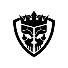 Skull king shield logo icon