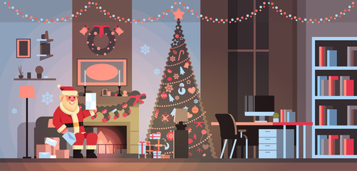 santa claus in living room decorated for christmas new year holiday sit armchair pine tree fireplace read letter wish list home interior concept flat horizontal vector illustration