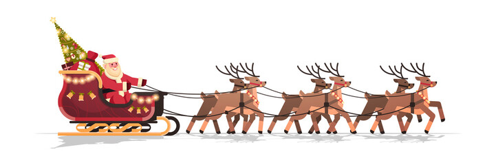 Santa in sleigh with reindeers merry christmas happy new year greeting card winter holidays concept isolated horizontal flat vector illustration