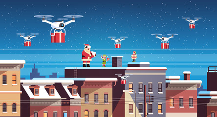 santa claus with elves on roof hold controller drone delivery present service happy new year merry christmas holiday concept flat horizontal vector illustration