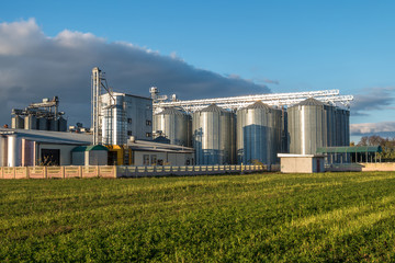 agro-processing plant for processing and silos for drying cleaning and storage of agricultural products, flour, cereals and grain Fotomurales