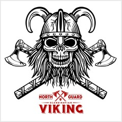Skull Viking Crossed Axe
