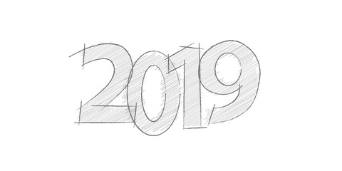 Abstract new year 2019, vector creative text scrawled in pen