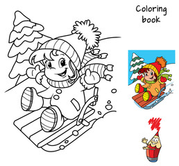 Little baby girl enjoying sleigh ride. Winter holiday. Coloring book. Cartoon vector illustration