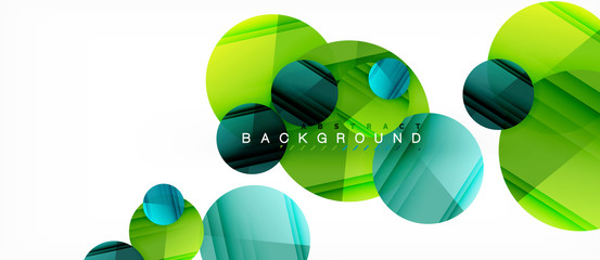 Glossy colorful circles abstract background, modern geometric design Wall mural