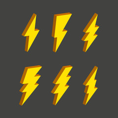 Electric thunderbolt lighting flash icon set. Art design dangerous symbol