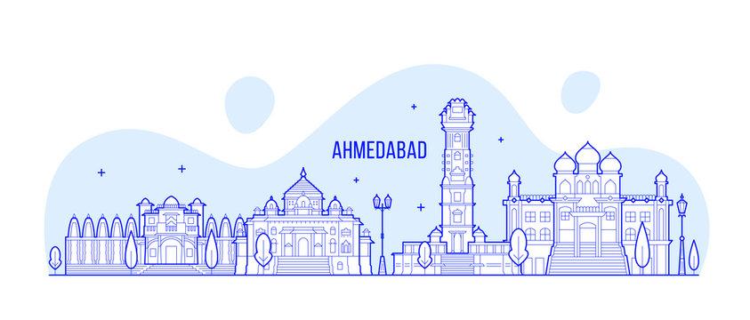 Ahmedabad skyline Gujarati India city vector line