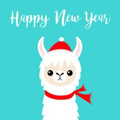 Happy New Year. Llama alpaca baby face. Santa Claus red hat, scarf. Cute cartoon funny kawaii character. Merry Christmas. Greeting card print. Flat design. Blue background.