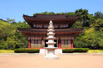 Stone pagoda in buddhist temple Kwanbob, Pyongyang, North Korea (DPRK)
