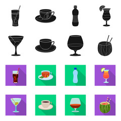 Vector design of drink and bar logo. Set of drink and party stock symbol for web.