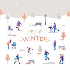 Winter time. People a strolling in the city park. Outdoor activities. Vector illustration.