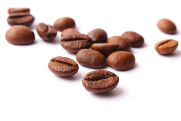 coffee beans isolated on white, aromatic coffee, coffee drinks