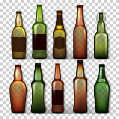 Transparent Beer Bottles Set Vector. Different Empty Glass For Craft Beer Green, Yellow, Brown. Mockup Blank Template For Product Packing Design Advertisement. Isolated Realistic Illustration
