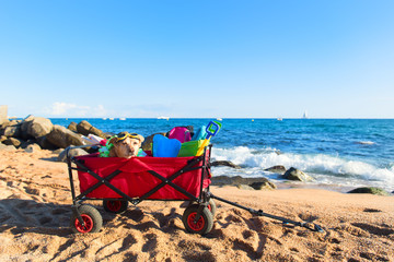 Beach cart with luggage and dog