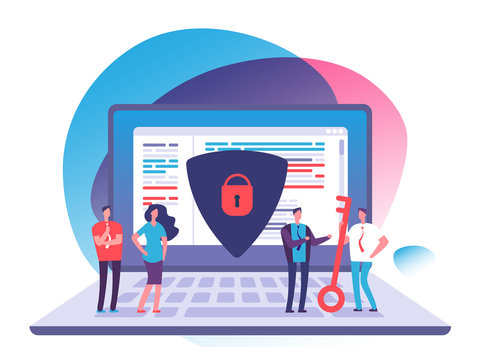 Application data protection. Exposed access code security, website and internet safety and online privacy vector concept. Security and protection laptop data illustration