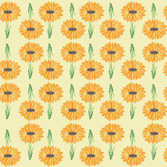 bright daisy garden print repeating seamless pattern