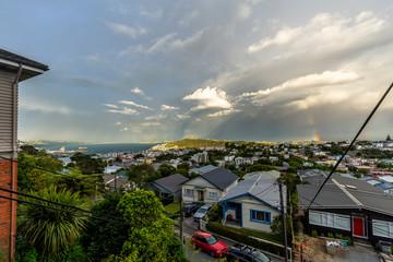 Rainbow over Wellington, New Zealand