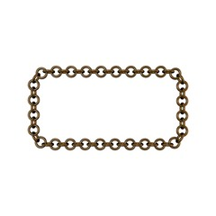 Bronze chain. Isolated on white background. Rectangle frame.
