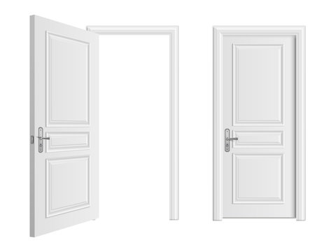 Open and closed white entrance realistic door isolated on white background. Door to house or room, enter doorway closed illustration
