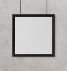 Black squared frame hanging mockup 3d rendering