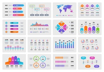 Business presentation charts. Financial report with graphs diagrams, marketing flowcharts progress bar. Vector infographics template. Illustration of infographic business, diagram and map world