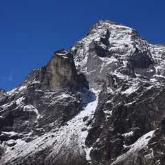 Mount Khumbi Yul Lha seen from Khumjung, Nepal. It is prohibed to climb this mountain, because it is a sacred place to the Sherpa people. Its thought to be home to the patron God of the local area.