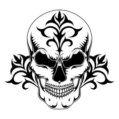 Vector image of a skull with a pattern on a white background.