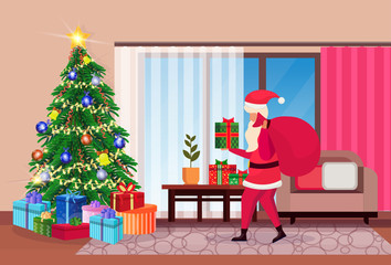 santa claus hold sack in living room decorated merry christmas happy new year pine tree home interior decoration winter holiday concept flat horizontal