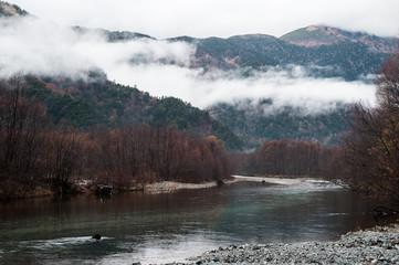 journey at japan autumn season, kamikochi