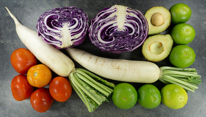Include many vegetables for health. Foods concept, on stone background. Top view, Copy space for design. ..