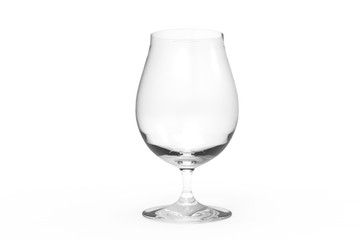 Empty beer glass on white background. 3D render