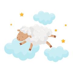 Cute little sheep sleeping on a cloud, lovely animal cartoon character, good night design element, sweet dreams vector Illustration