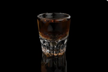 Single whiskey vodka shot glass on black background with reflections and refractions. 3D render
