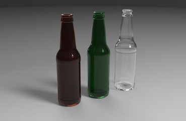 Glass transparent beer bottles mock up on white gray background with shadows and reflections. 3d render