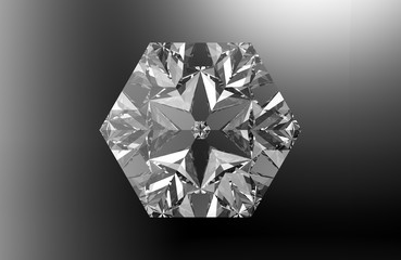 Hexagonal gemstone on black background with reflections and refractions. 3D render