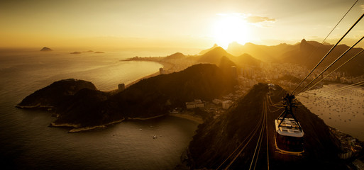 Wall Mural - Aerial View of Rio de Janeiro from the Sugarloaf Mountain by Sunset, Brazil