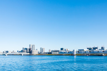 (東京都ー都市風景)晴海ふ頭から望む豊洲市場側風景