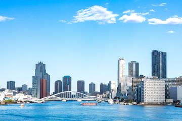 (東京都ー都市風景)竹芝桟橋から望む墨田側風景5