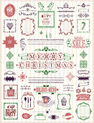 Christmas and New Year sketch elements set, hand drawn doodle graphic line elements - ribbons, frames, menus, dividers and phrases