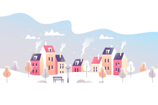 Winter city landscape. Snowy street in small town. Vector illustration.