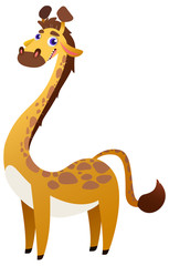 Cute cartoon Giraffe, isolated on white background. Vector Illustration