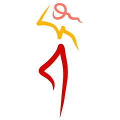 Running or dancing woman, colorful logo, several lines