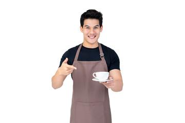 Fototapeta Handsome smiling Asian barista serving coffee studio shot isolated on white background obraz