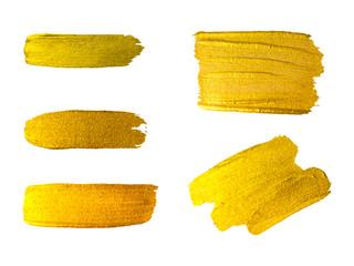 Vector golden brush stroke, brush, line or texture. Hand drawn b