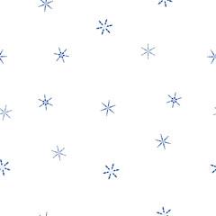 Seamless pattern blue snowflakes on white, vector eps 10