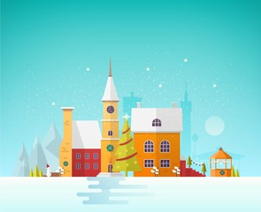 Wall Mural - Street of small European city or town at Christmas Eve. Cityscape or landscape with antique buildings and clock tower decorated for holiday. Festive colorful vector illustration in trendy flat style.